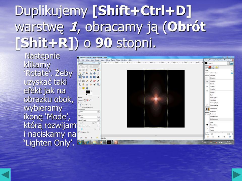 Duplikujemy [Shift+Ctrl+D] warstwę 1, obracamy ją (Obrót [Shit+R]) o 90 stopni.
